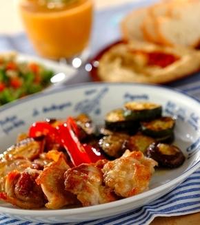 鶏肉と野菜のグリルガーリックソースの献立