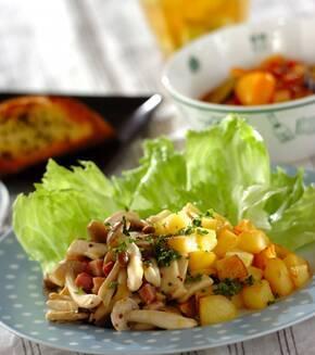 キノコと揚げジャガイモのホットサラダの献立
