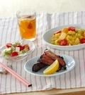 「豚骨付きバラ肉の赤ワイン漬け焼き」の献立