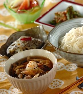 豚肉とシメジのつけ素麺、スダチの香りの献立