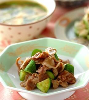 豚肉とキュウリの中華炒めの献立