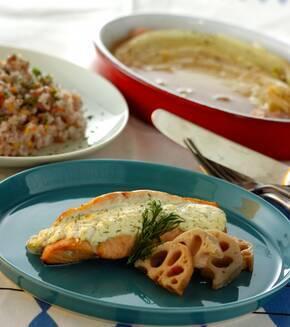 鮭のチーズソースはさみ焼きの献立