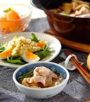 豚肉と水菜のトロロポン酢鍋の献立