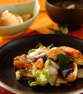 鮭と彩り野菜のドレッシング炒めの献立