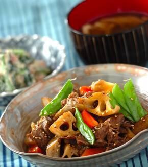 牛肉と根菜の煮物の献立