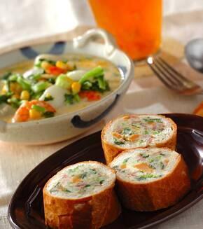 菜の花ポテトサラダのスタッフドバゲットの献立