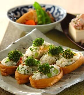 菜の花と干しエビのいなり寿司の献立