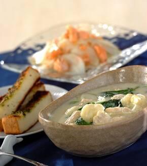 鶏ささ身とホウレン草のクリームスープの献立