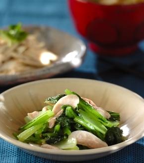 鶏と小松菜の炒め物の献立