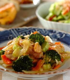 鶏肉と野菜の塩麹炒めの献立
