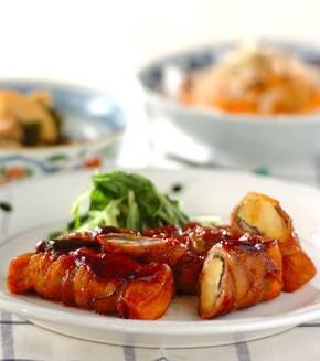 高野豆腐とナスの豚バラ巻きの献立