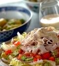 「豚肉の冷しゃぶノンオイル豆乳ソース」の献立