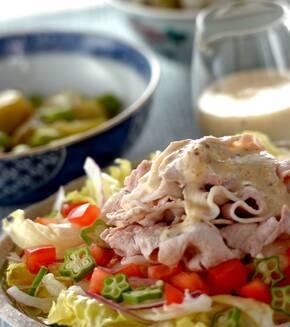 豚肉の冷しゃぶノンオイル豆乳ソースの献立