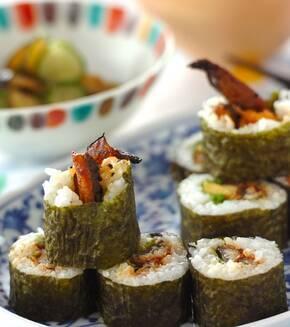 ウナギの巻き寿司の献立