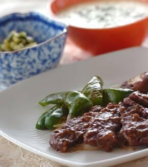 甘みそダレの牛焼き肉の献立