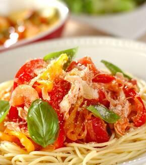ささ身とトマトの冷製スパゲティーの献立