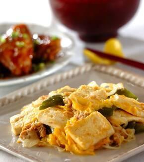 豆腐とツナの卵とじの献立