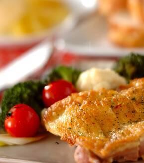鶏肉のグリル野菜の蒸し煮添えの献立