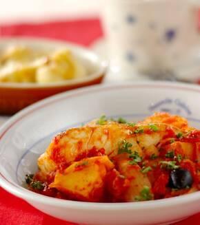 タラとジャガイモのトマト煮の献立