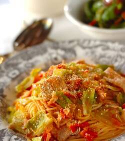 豚肉とキャベツのトマトスパゲティー