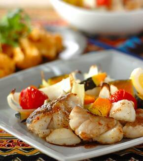 白身魚とトマトのオーブン焼きの献立