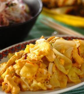 高野豆腐とキャベツの卵炒めの献立