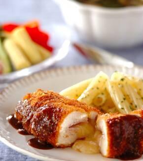 鶏むね肉のハムチーズサンドカツの献立