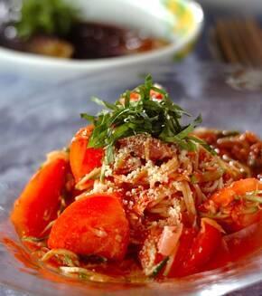 生ハムとツナの冷製トマトスパゲティーの献立