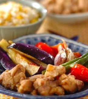鶏肉と夏野菜の揚げびたしの献立