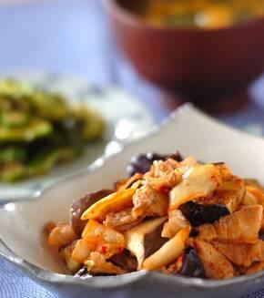 豚肉とナスのキムチ炒めの献立