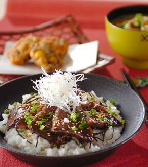 カツオの香味漬け丼(漬け時間1時間)の献立