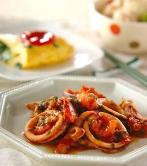イカとトマトのパセリ炒めの献立