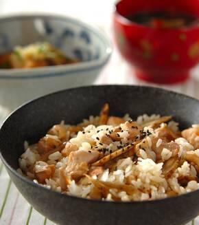 鶏肉とゴボウの混ぜご飯の献立