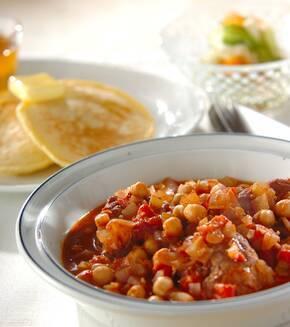 豚肉とヒヨコ豆のトマト煮込みの献立