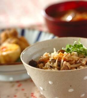 鶏ゴボウの炊き込みご飯の献立