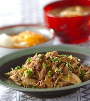 納豆とキノコの炒め物の献立