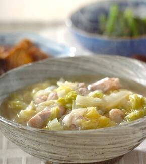 鶏肉と白菜のユズコショウスープの献立