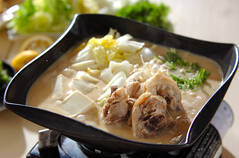 鶏鍋~酒粕鍋~酒粕湯葉ご飯