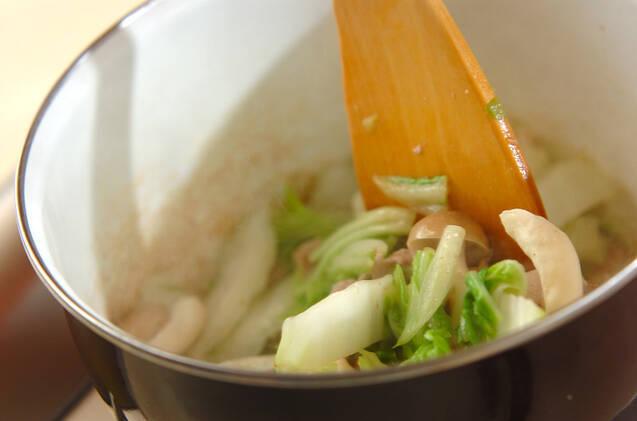 ゴマ油香る!白菜と豚肉の卵とじ丼の作り方の手順3