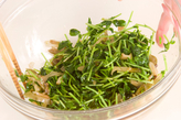 豆苗とザーサイのサラダの作り方1