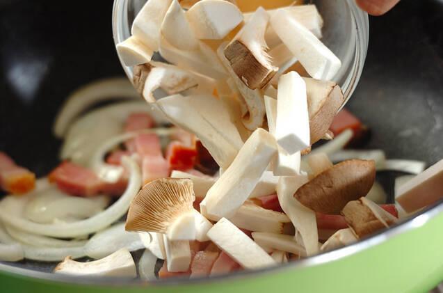 カボチャとベーコンのクリームパスタの作り方の手順5