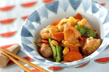 鶏肉と大豆の炒り煮