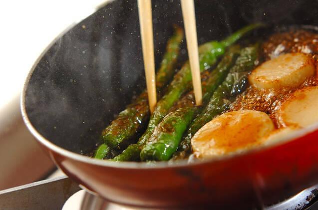 長芋と甘長唐辛子のソテーの作り方の手順3
