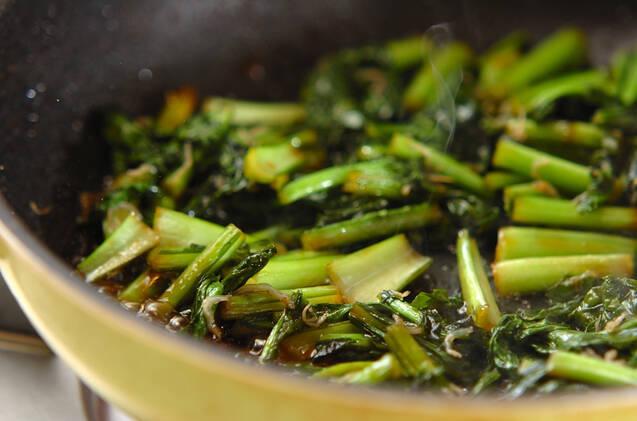 カブの葉の甘辛炒めの作り方の手順2