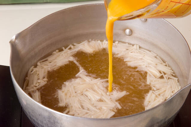 エノキのかきたま汁の作り方の手順5