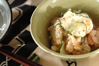 長芋とむきエビのサラダ