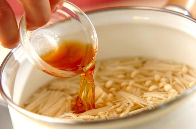 エノキのかきたま汁の作り方の手順3