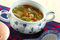 エビとキノコのスープ