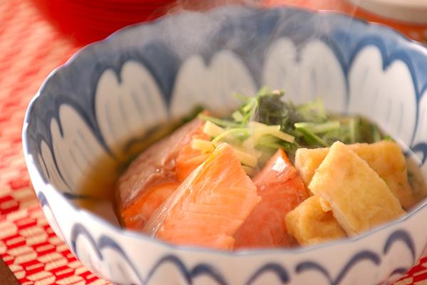 塩鮭、水菜、油揚げの煮物