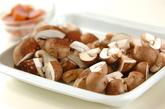 キノコのアンチョビ炒めの下準備1